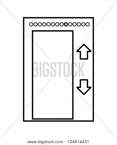 elevatar concept represented by open door with arrows over flat and isolated design