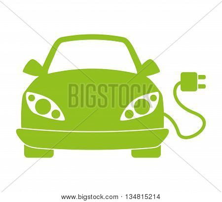 Eco  Automobile cartoon design over flat and isolated bakground