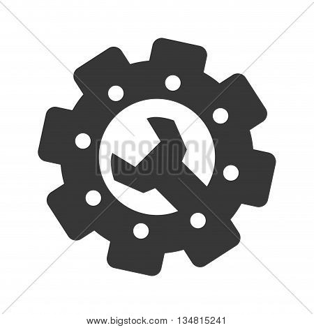 Gear with points and wrench inside over flat and isolated bakground, vector illustration