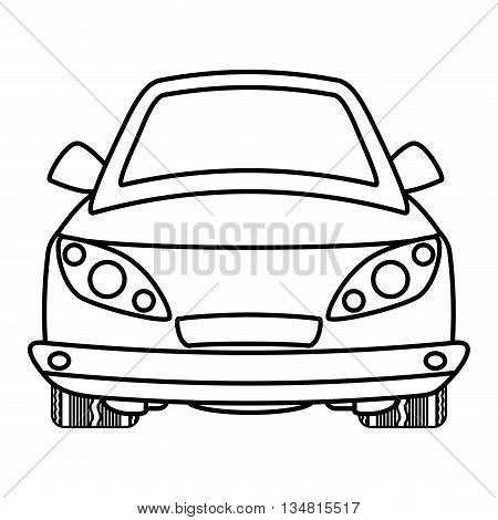 Silhouette of ahead Automobile cartoon design over flat and isolated bakground