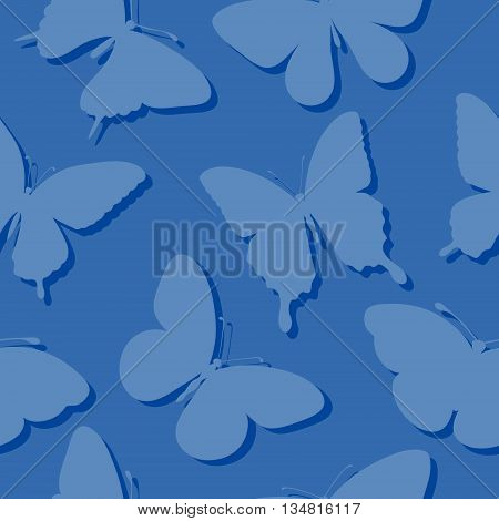 Beautiful seamless background with butterflies silhouettes in blue colors. Perfect for greeting cards and invitations of the wedding birthday mother's day. Many similarities to the author's profile