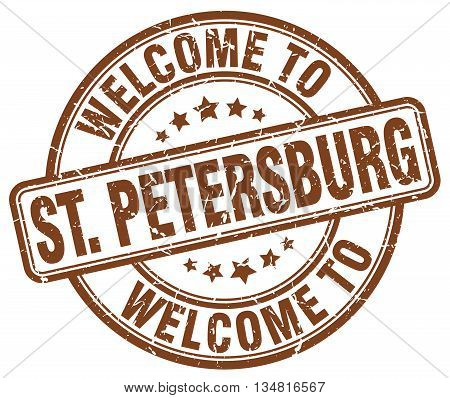welcome to St. Petersburg stamp. welcome to St. Petersburg.