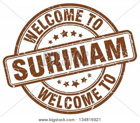 welcome to Surinam stamp. welcome to Surinam.