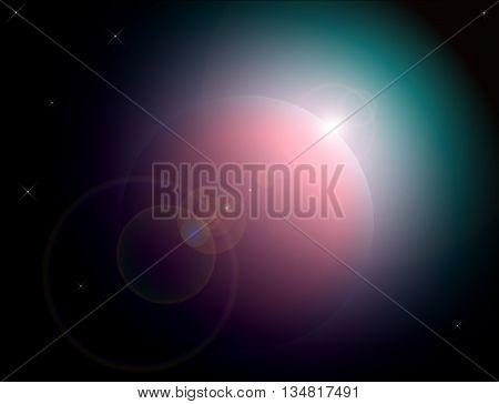 An alien world hangs in front of a backdrop of stars.
