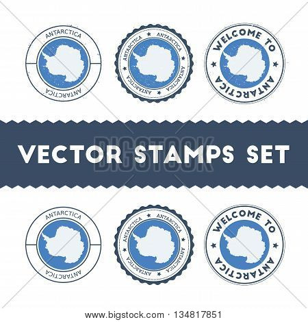 Antarctica Flag Rubber Stamps Set. National Flags Grunge Stamps. Country Round Badges Collection.