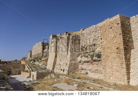 Walls Of The Kerak Castle, A Large Crusader Castle In Kerak (al Karak) In Jordan
