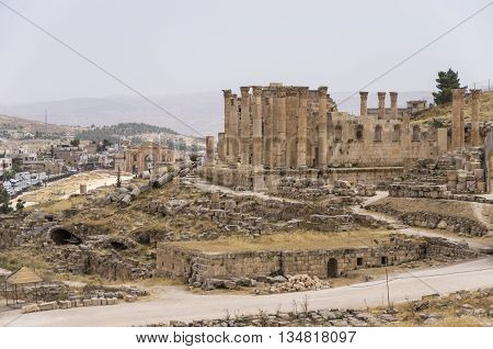 Temple Of Zeus, Jordanian City Of Jerash (gerasa Of Antiquity), Capital And Largest City Of Jerash G