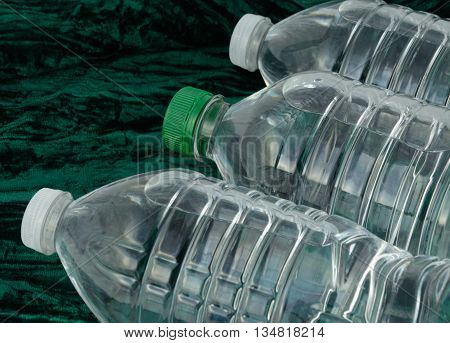 Close up of Purified bottled water in plastic bottles