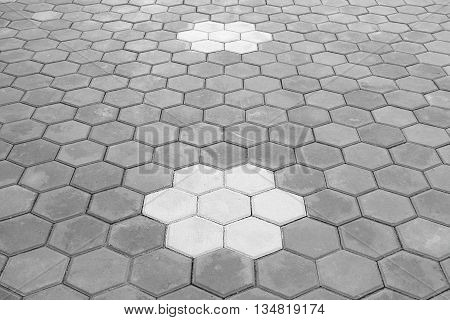 Paving Hexagon brick walkway ;The pattern of stone block paving