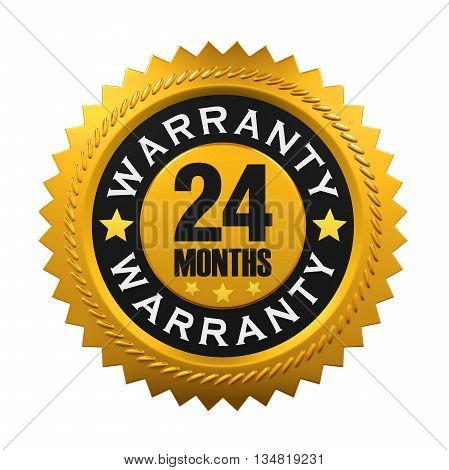 24 Months Warranty Sign isolated on white background. 3D render