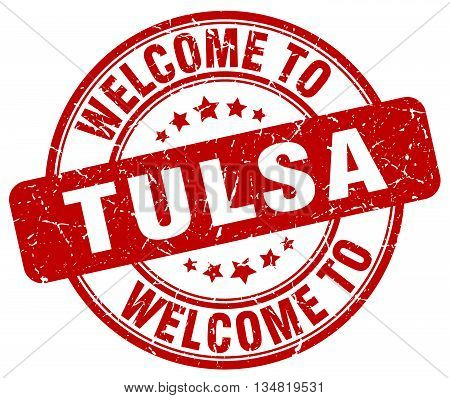 welcome to Tulsa stamp. welcome to Tulsa.