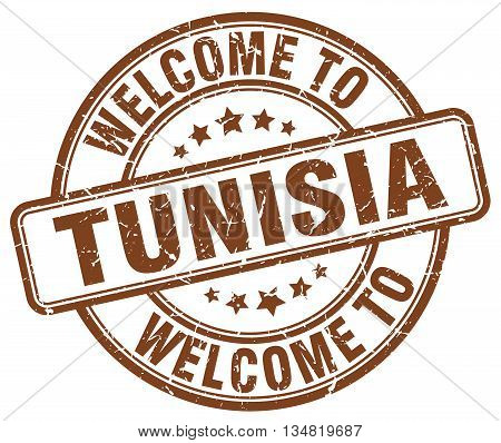 welcome to Tunisia stamp. welcome to Tunisia.