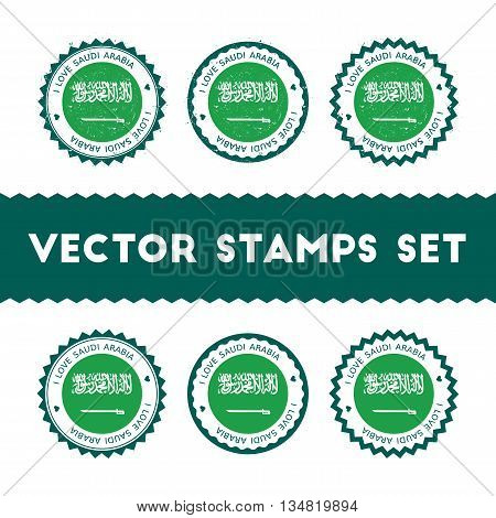 I Love Saudi Arabia Vector Stamps Set. Retro Patriotic Country Flag Badges. National Flags Vintage R