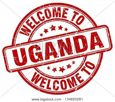 welcome to Uganda stamp. welcome to Uganda.