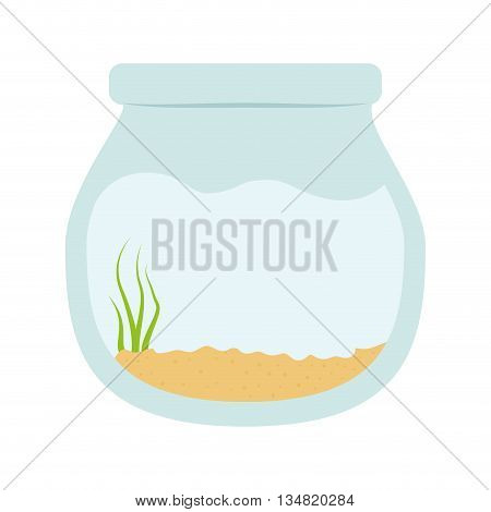 Sea life represented by fish bowl with algae inside design over isolated and flat illustration