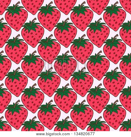 Seamless Background With Pink Strawberries. Cute Vector Strawberry Pattern. Summer Fruit Illustratio