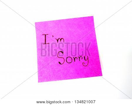 I'm sorry in post it note on white background