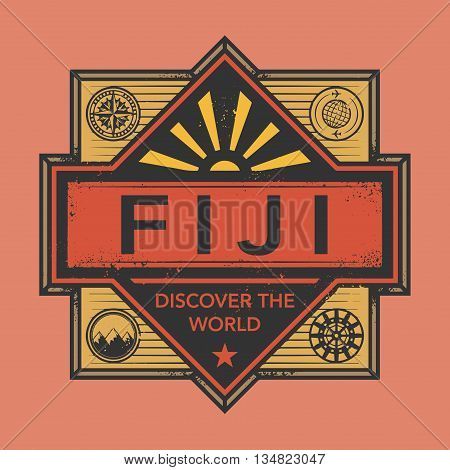 Stamp or vintage emblem with text Fiji, Discover the World, vector illustration