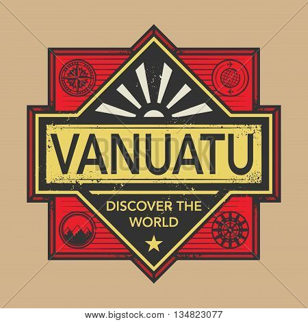 Stamp or vintage emblem with text Vanuatu, Discover the World, vector illustration