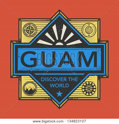Stamp or vintage emblem with text Guam, Discover the World, vector illustration