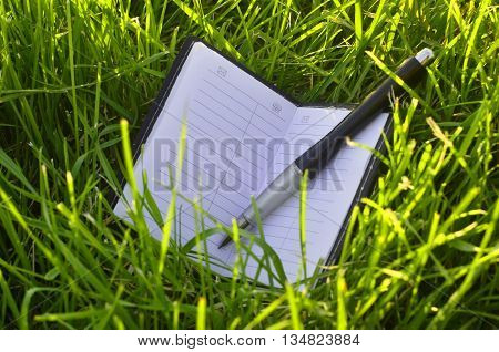 White note-book with black pen and empty white pages on green grass field