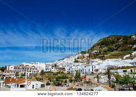 Landscape of Frigiliana white town on the Costa del Sol Malaga.