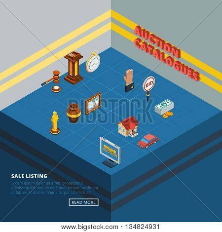 Isometric auction icon set with common elements of bidding process and types of goods in abstract room vector illustration