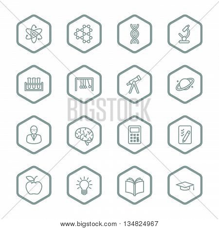 gray line education and science icon set with hexagon frame for web design user interface (UI) infographic and mobile application (apps)