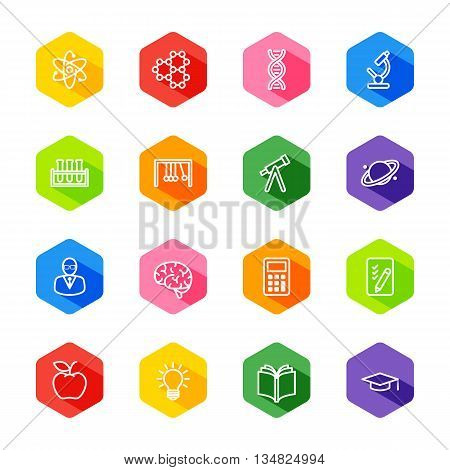 white line education and science icon set on colorful hexagon with shadow for web design user interface (UI) infographic and mobile application (apps)
