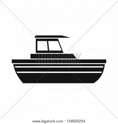 Motor boat icon in simple style isolated on white background. Sea transport symbol