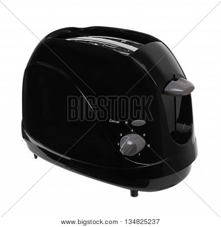 Black toaster isolated on a white background