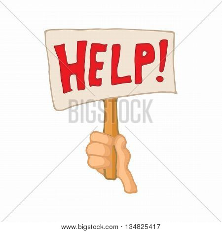 Sign with the word help in a hand icon in cartoon style on a white background