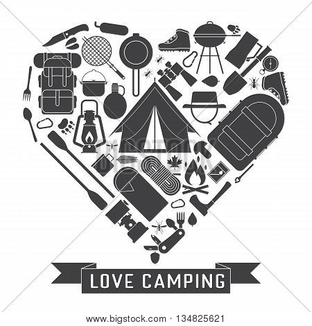 Love Camping Outline Concept Heart