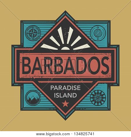 Stamp or vintage emblem with text Barbados, Paradise Island, vector illustration