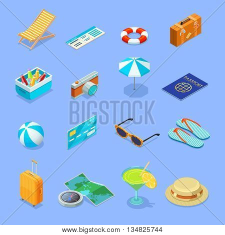 Summer vacation travel vintage accessories isometric icons collection with sunglasses straw hat and suitcase isolated vector illustration
