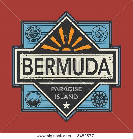 Stamp or vintage emblem with text Bermuda, Discover the World, vector illustration