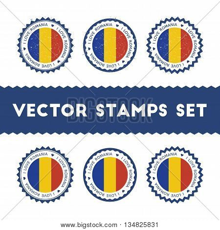 I Love Romania Vector Stamps Set. Retro Patriotic Country Flag Badges. National Flags Vintage Round
