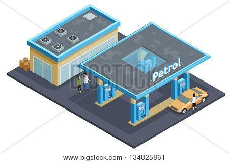Gas petrol motorway filling service station to refuel recharge rest eat and drink isometric poster abstract vector illustration