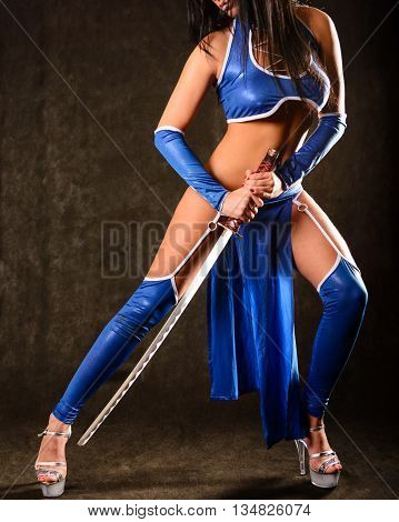 Princess Kitana Girl In Blue Suit Holding Sword