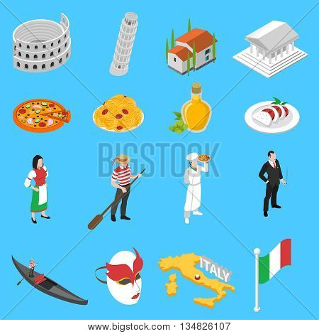 Italian sightseeing landmarks and national cuisine for tourists with coliseum pizza and spaghetti abstract isolated vector illustration