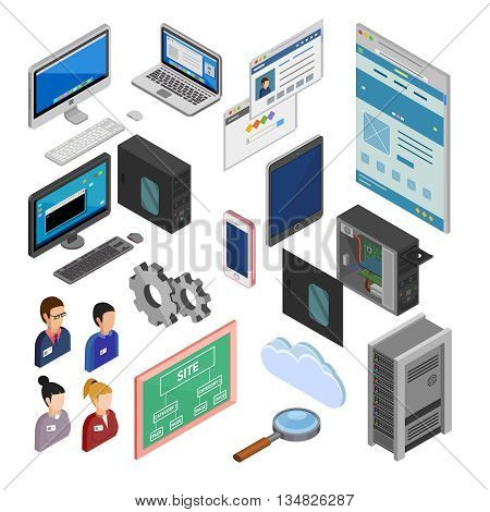 Development isometric decorative icons set with programmers staff site map laptop smartphone system unit isolated elements flat vector illustration