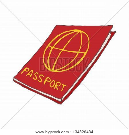 Red passport icon in cartoon style on a white background