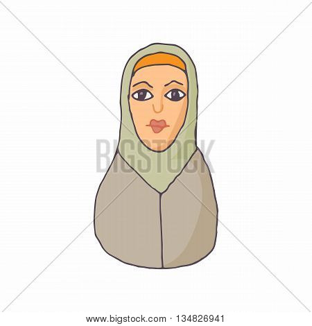 Woman in hijab icon in cartoon style on a white background