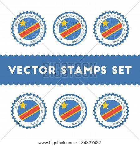 I Love Congo, The Democratic Republic Of The Vector Stamps Set. Retro Patriotic Country Flag Badges.