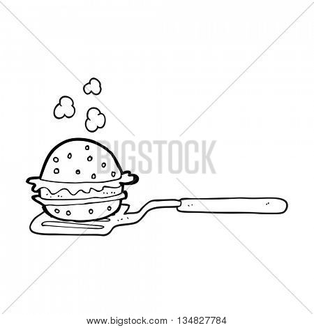 freehand drawn black and white cartoon spatula with burger