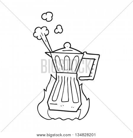 freehand drawn black and white cartoon espresso stovetop maker