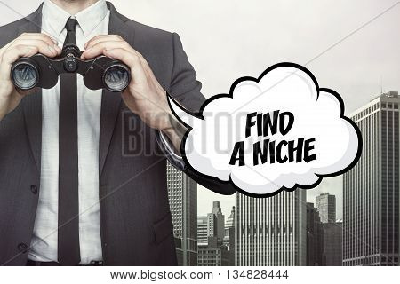 Find a niche text on speech bubble with businessman holding binoculars on city background