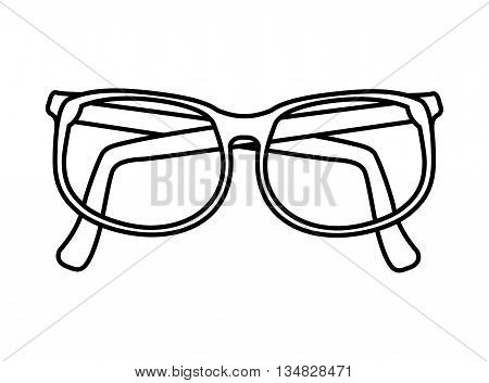 Optical instrument represented by classic glasses with lens icon over flat and isolated background