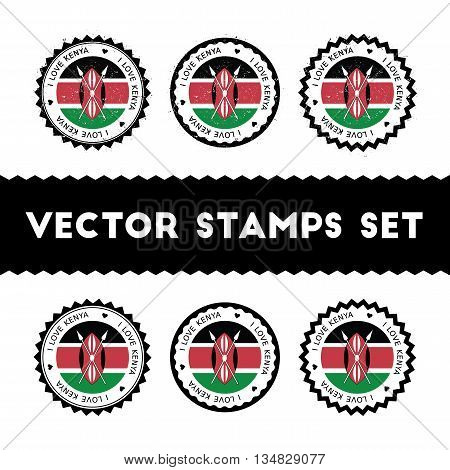 I Love Kenya Vector Stamps Set. Retro Patriotic Country Flag Badges. National Flags Vintage Round Si
