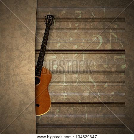 Vector illustration of musical background guitar on an old music sheet with an overlap. There is room to place text or an image.